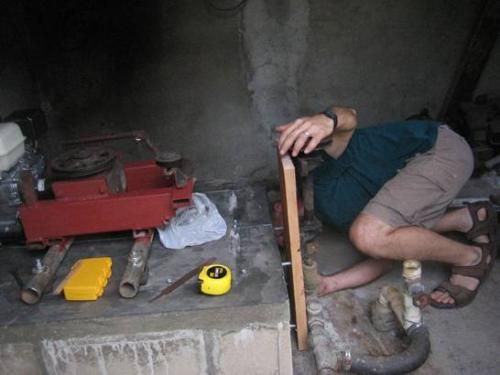 David replaicing a water pump